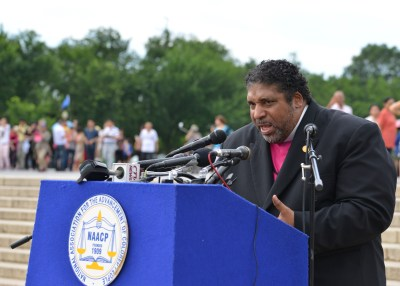 Rev. William Barber II, the president of the North Carolina State Conference of the NAACP speaks during the America's Journey for Justice at the Lincoln Memorial in Washington, D.C. (Freddie Allen/NNPA News Wire)