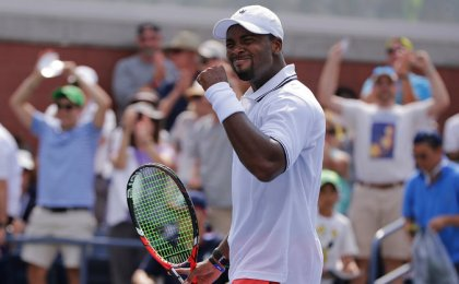 Donald Young, 26, of the United States after beating Gilles Simon of France, 2-6, 4-6, 6-4, 6-4, 6-4, on Tuesday in a first-round match. (Frank Franklin II/AP Photo)