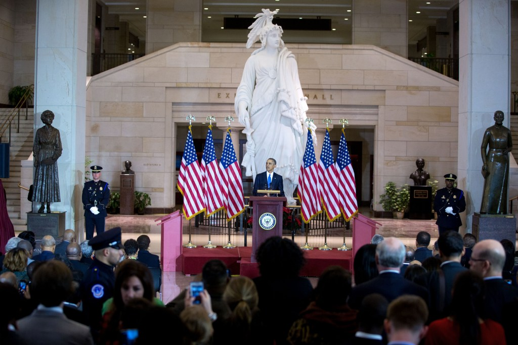 President Barack Obama delivers remarks at an event commemorating the 150th anniversary of the 13th Amendment abolishing slavery, at the U.S. Capitol in Washington, D.C., Dec. 9, 2015. (Official White House Photo by Lawrence Jackson)