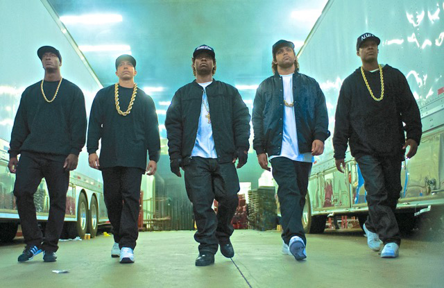 "Dwight Brown says that ""Straight Outta Compton""This is a full-fledged, big-budget looking homage to the L.A. rap scene, that smartly, emotionally and historically capsulizes the life and times of Eazy-E, Ice Cube, Dr. Dre. (Lionsgate)"