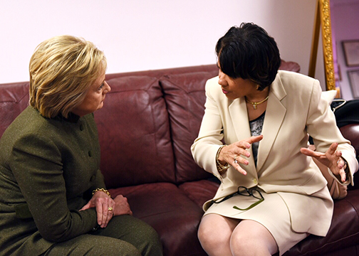 Presidential candidate Hillary Clinton (left) visits with Flint, Michigan Mayor Karen Weaver to discuss the water crisis in Flint and relief efforts. (Barbara Kinney/Hillary for America)