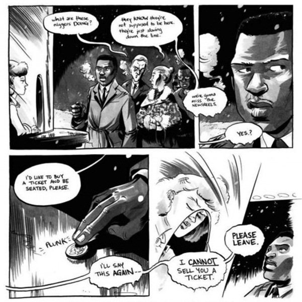 "Panels from ""March: Book One,"" the graphic novel about Rep. John Lewis' involvement in the Civil Rights Movement. (Top Shelf Comix)"