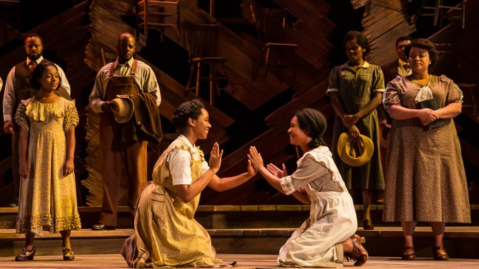 """Adrianna Hicks, N'Jameh Camara and the North American tour cast of """"The Color Purple."""" Photo by Matthew Murphy. Courtesy Kennedy Center."""