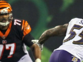 Bengals' tackle Cordy Glenn goes to work in the Bengal's Thursday Night Football game against Baltimore.