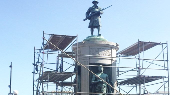 The Victory Monument, which has stood on S. Martin Luther King Drive for 92 years, will be polished and reinforced during the $62,000 restoration project. (Photo by: chicagocrusader.com)