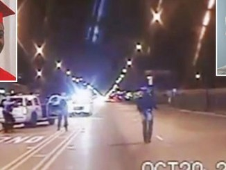 Screen capture from police video footage of the killing of Laquan McDonald by Former Chicago Police Officer Jason Van Dyke