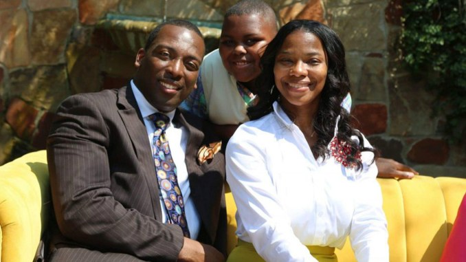 (L to R) Apostle Herman L. Murray, son Haydn and wife of 20 years Daniele.