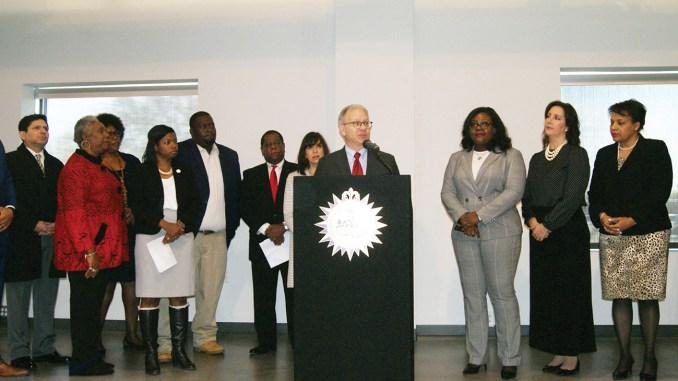 Mayor David Briley with African-American and female business owners, members of the Mayor's Minority Business Advisory Council and leaders of the city's black, Hispanic and LGBT chambers of commerce announcing meaningful changes to the city's procurement access.