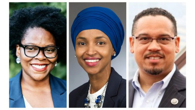 (l-r) Angela Conley, Ilhan Omar and Keith Ellison were victorious in their historic bids.