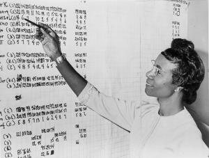 Shirley Chisholm, Congresswoman from New York, looking at list of numbers posted on a wall, 2 November 1965, Library of Congress. New York World-Telegram & Sun Collection. Roger Higgins, World Telegram staff photographer