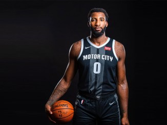 """Detroit Pistons center Andre Drummond sporting the team's newNike City Edition """"Motor City"""" uniform."""