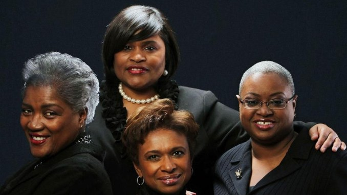 Donna Brazile, left, Minyon Moore, Yolanda Caraway and Rev. Leah Daughtry are the women who considered and chose politics. (Courtesy Photo)