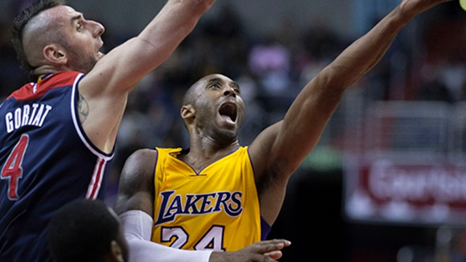 Kobe Bryant of the Los Angeles Lakers shooting against former Washington Wizards player Marcin Gortat (Wiki media commons)