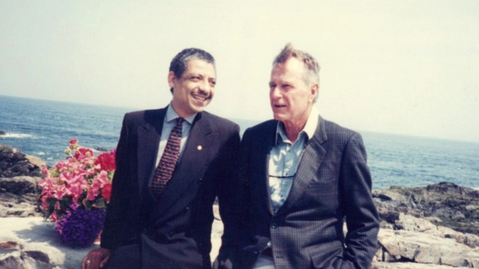 (l-r) Robert Goodwin and George Bush
