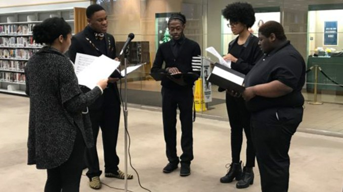 "The Lawson State Community College Choir quartet performed Christmas songs at the Birmingham Public Library, Central Branch on Sunday, Dec. 16, 2018. The quartet performed Christmas favorites like ""Silent Night,"" ""Go Tell it on the Mountain,"" ""Joy to the World,"" ""Have Yourself a Merry Little Christmas"" and ""The Christmas Song."" The quartet was directed by Dr. Jillian Johnson, music professor at Lawson State and included students (from left) Jemanuel Pullom, Javaris Williams, BreAna Doss and Kayla King."