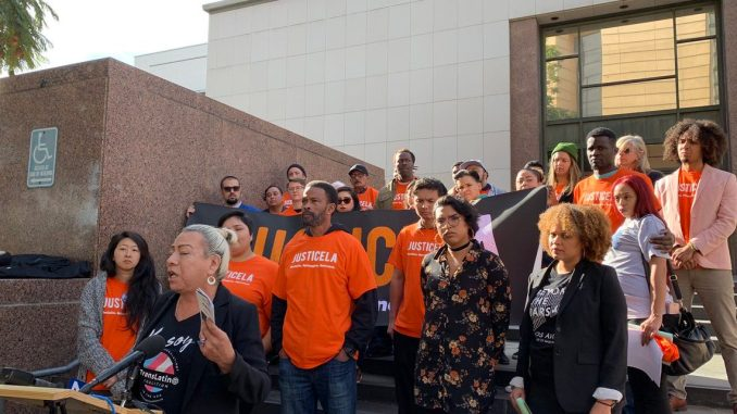 The JusticeLA Coalition. (Photo by Wave Newspapers)