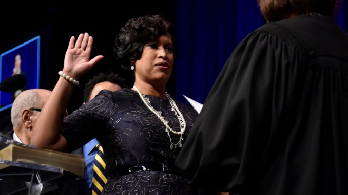 Muriel Bowser is sworn into her second terms as mayor of the District of Columbia on Jan. 2. (Photo by Rob Roberts)