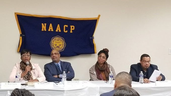 (l-r) Dr. Artika Tyner, Meda CEO Gary Cunningham, Village Financial Co-founding Director Me'Lea Connelly and MN Attorney General Keith Ellison (Photo by: spokesman-recorder.com)