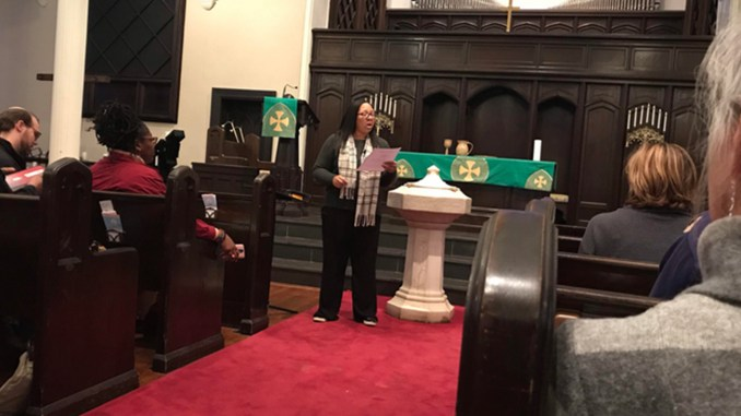 T. Marie King gives rules during a community conversation hosted by Faith in Action Alabama at First Presbyterian Church in Birmingham. FAA gave people a chance to discuss their feelings about BCRI rescinding an award to Angela Davis. (Erica Wright Photos, The Birmingham Times)