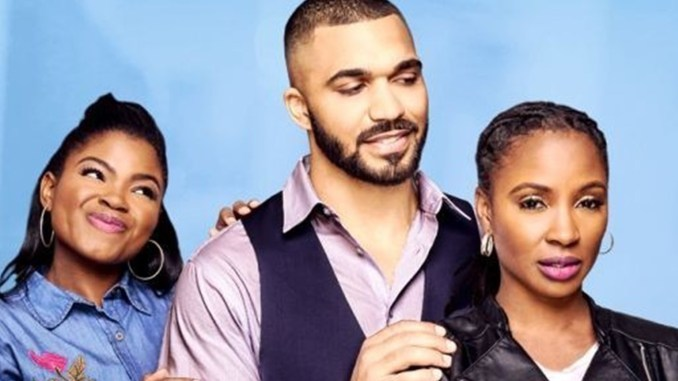 TV One has announced another original film titled Three's Complicated, which will premiere on Sunday January 13th. The film will star Shanola Hampton (right), Tyler Lepley (center), and Kyanna Simone Simpson (left). (Courtesy Photo/TV One)