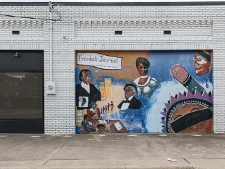 """Freedom's Journal"" mural outside the offices of NNPA member publisher, the Dallas Weekly, a newspaper that reports on events in the African-American community in Dallas, Texas. (Source: Pinterest)"