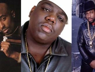 "Tupac Shakur, Christopher ""Notorious B.I.G."" Wallace and Jason ""Jam Master Jay"" Mizell. Photos: YouTube"