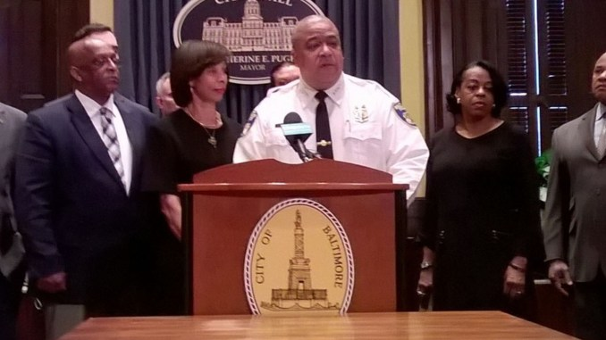 """New Acting Police Commissioner Michael Harrison, flanked by Mayor Catherine Pugh, City Council President Bernard """"Jack"""" Young, Comptroller Joan Pratt and former Interim Commissioner Gary Tuggle, is meeting this morning (Feb. 11) with Baltimore City State's Attorney Marilyn Mosby regarding her office's marijuana possession prosecution policy. (Photo credit: Sean Yoes)"""