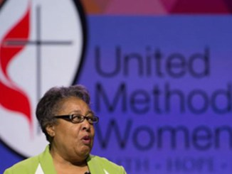 """United Methodist deaconess, Clara Ester, who witnessed King's assassination, feels a """"God-assigned responsibility"""" to reach out and make the world better (photo by Mike DuBose, United Methodist Communications)."""