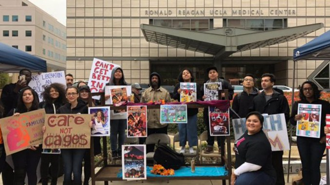 """""""Medical students and health workers at UCLA join JusticeLA's call against new jail construction."""" (Source: JusticeLA)"""