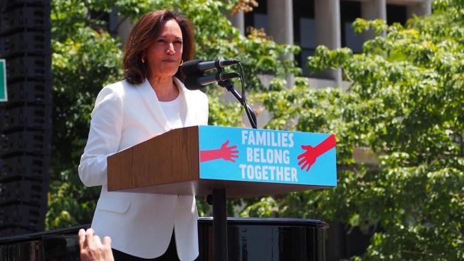U.S. Sen. Kamala Harris speaks at L.A.'s Families Belong Together March in June 2018. (Photo by: Luke Harold | Wiki Commons)