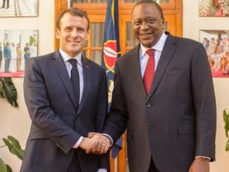 French President Emmanuel Macron and Kenyan President Uhuru Kenyatta. (Photo by: Global Information Network)