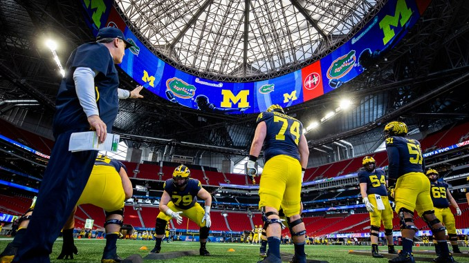 Michigan Wolverines practice on Wednesday, December 26, 2018 at the Mercedes Benz Stadium in Atlanta. (Jason Parkhurst via Abell Images for the Chick-fil-A Peach Bowl)
