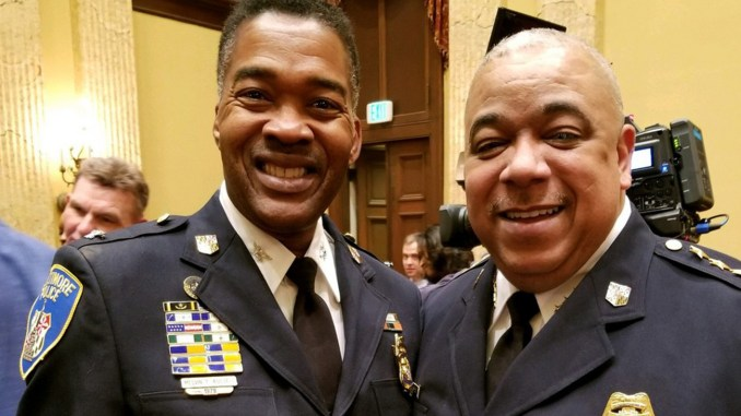 Acting Commissioner Michael Harrison (right) with Acting Deputy Commissioner Commissioner Melvin Russel during Harrison's confirmation hearing March 6. (Photo courtesy Melvin Russell)
