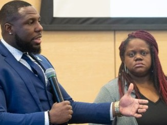 """Charlottesville, Va. City Councilman Dr. Wes Bellamy and Lea Webb talk to attendees during one of the last sessions at the """"Black Millennials Unbossed & Unapologetic Summit"""" at the National Civil Rights Museum. (All photos: Karanja A. Ajanaku)"""