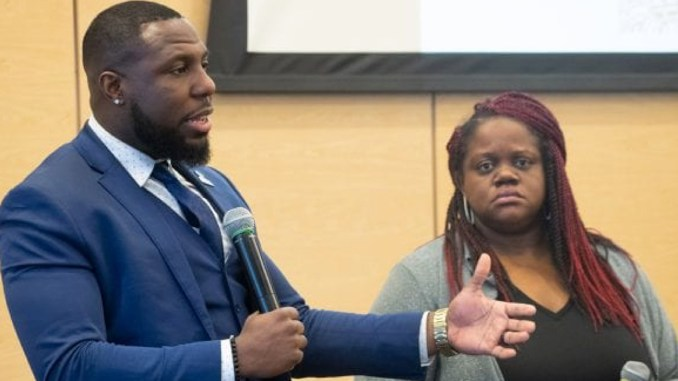 "Charlottesville, Va. City Councilman Dr. Wes Bellamy and Lea Webb talk to attendees during one of the last sessions at the ""Black Millennials Unbossed & Unapologetic Summit"" at the National Civil Rights Museum. (All photos: Karanja A. Ajanaku)"