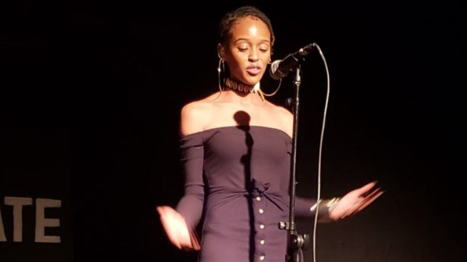 """Nia June is known for posing lyrical brain teasers for her audiences: """"Don't you know being a black woman is being God with no believers? Now ain't that some s#€t to be mad about?"""" (Photo by: Betty Harvin)"""