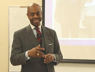 """At the Avon Williams campus in downtown Nashville, Rep. Harold Love, Jr. announces his successful effort to bring an additional $1.9 million to cash-strapped TSU every year. """"This wasn't asking for new money. This was asking for old money that wasn't paid,"""" Love said."""