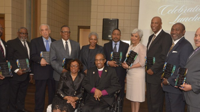 The recipients of the inaugural Healthcare Legacy Awards joined Bishop Henry M. Williamson Sr. and First Lady Doris Yvonne Williamson (seated) for a photo after the Awards ceremony. (Photo: Tyrone P. Easley)