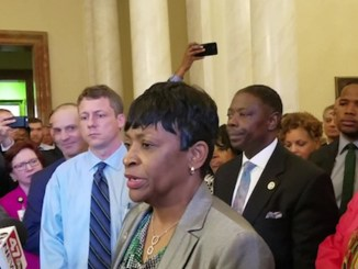 Del. Adrienne Jones (D-Baltimore County) speaks with reporters on May 1, minutes after a House Democratic Caucus meeting in Annapolis, in which she was selected as the new speaker of the House of Delegates. (Photo by: William J. Ford | The Washington Informer)