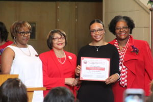 From left: Michele R. Busby, Matilda Merriweather, MaKayla Rogers, scholarship recipient and Georgetta Lowe. (Ameera Steward Photo, The Birmingham Times)