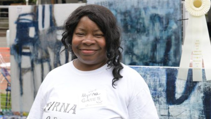 Myrna Gates from Birmingham's Wenonah community won an Award of Distinction during the Art Connection. (Photo by: Amarr Croskey | The Birmingham Times)