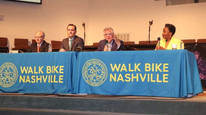 L-R, Mayor David Briley, Representative John Ray Clemmons, At-Large Councilman John Cooper, and former Vanderbilt professor Carol Swain talked traffic, bikeways, and sidewalks at the Watson Grove Missionary Baptist Church on Wednesday, May 22.