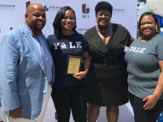 Jillian Jolly (second from left), a senior at Ramsay High School has announced that she will attend Yale University this fall on a full-ride, four-year scholarship. Jolly is shown here with her uncle, Frederic Bolling (left), Birmingham City Schools Superintendent Dr. Lisa Herring (second from right) and her mother, Jacqueline Harrell. (Photos by :Erica Wright Photos | The Birmingham Times)