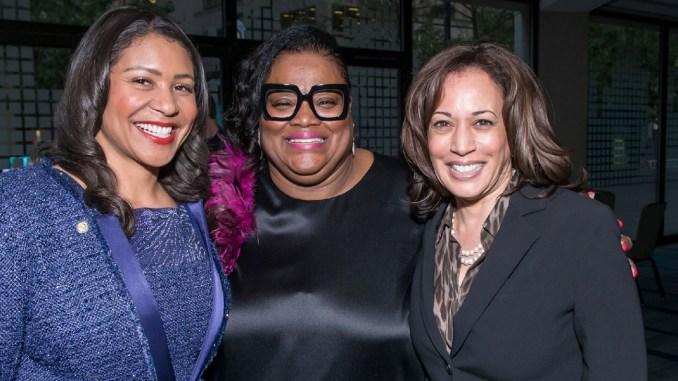 """""""I was able to put the paper behind young African American women who wanted to ascend to power and help lead in a political way to make our communities and the world better,"""" said Sun Reporter Publisher Amelia Ashley Ward (center), accompanied by San Francisco Mayor London Breed (left) and U.S. Senator Kamala Harris (D-CA)."""