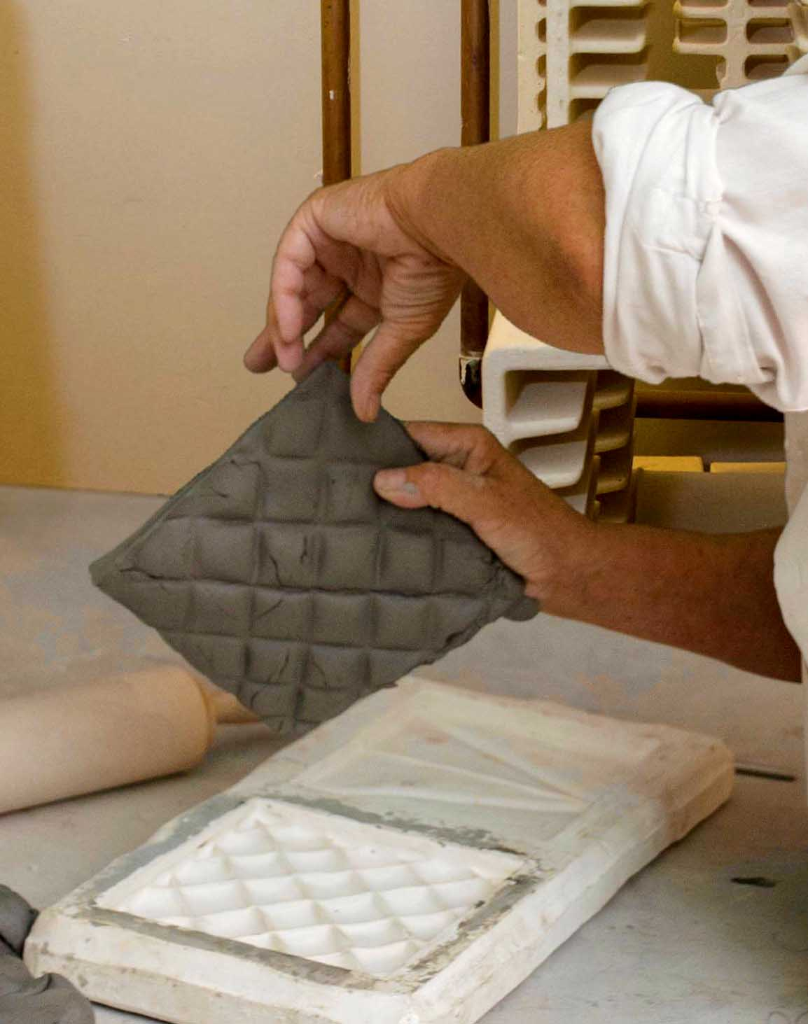 Creation of pillow tile how hand made tiles are created handmade tiles how theyre made doublecrazyfo Images