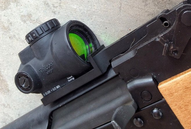 This mount had to be custom spec'd for the RAS 47's rear sight dimensions.
