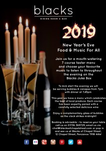 Poster for New Year's Eve at Blacks of Chapel Street
