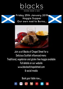 Haggis Supper Flyer at Blacks of Chapel Street