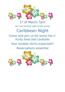 Flyer for Caribbean Evening