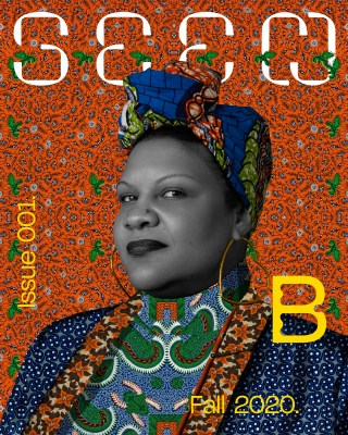 "Cover image of Seen shows an illustration of filmmaker Radha Blank, wearing colorful patterns in blue, orange, green and brown. In addition to the magazine name, the cover also displays ""Issue 001, Fall 2020"" and the large ""B"" BlackStar logo."